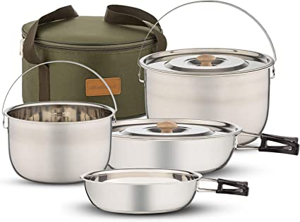 Mountain Warehouse Family Camping Cooking Set Lightweight Camping Cutlery Hard Anodised Aluminium Great Camping Equipment for Cooking When Travelling /& Outdoors