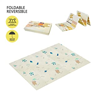 Baby Play Mat XPE Foam Folding Playmat for Kids,Infants,Toddlers Waterproof Picnic Mat for Nursery,Playroom,Activity Center,Ball Pit Gym Floor(78.7x59x0.4in)