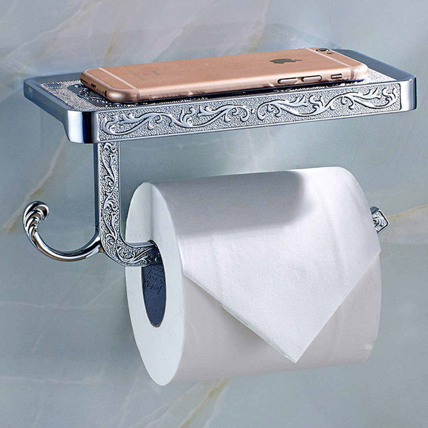 ThinkTop Antique Carving Toilet Roll Paper Holder with Phone Shelf Wall Mounted Bathroom Paper Rack and Hook-Gold