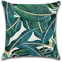 BIGBOBA Rainforest Style Creative Pillowcase Plant Pattern Cushion Covers 45*45CM B Linen Material