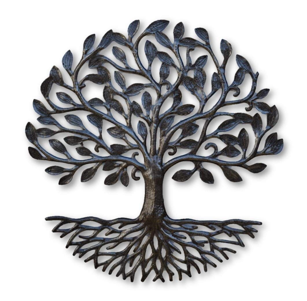 Small Metal Tree of Life with Roots, 17.25 in. Round Rustic Farmhouse Decor, Nature Inspired, Handmade in Haiti, Fair Trade Federation Certified