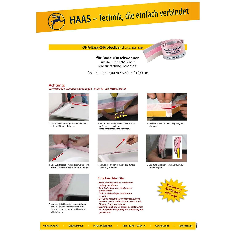 Haas 4396 OHA-Easy-2-Protectband Schalldichtband Fugendichtband D/ämmstreifen Wannendichtband Dichtband Fugenband f/ür Badewanne
