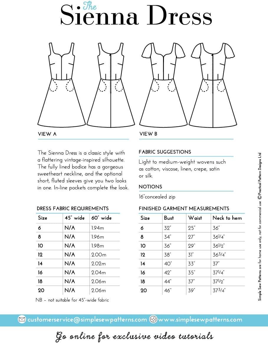 Pour d/ébutant Robe d/ét/é patineuse /à manches courtes Patron de couture simple pour femme Sans manches Tailles 39-50