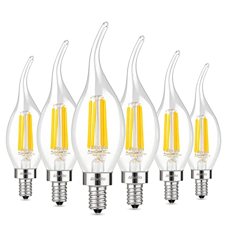 Albrillo E12 LED Chandelier Light Bulbs 4W, 40 Watt Candelabra Bulb ...