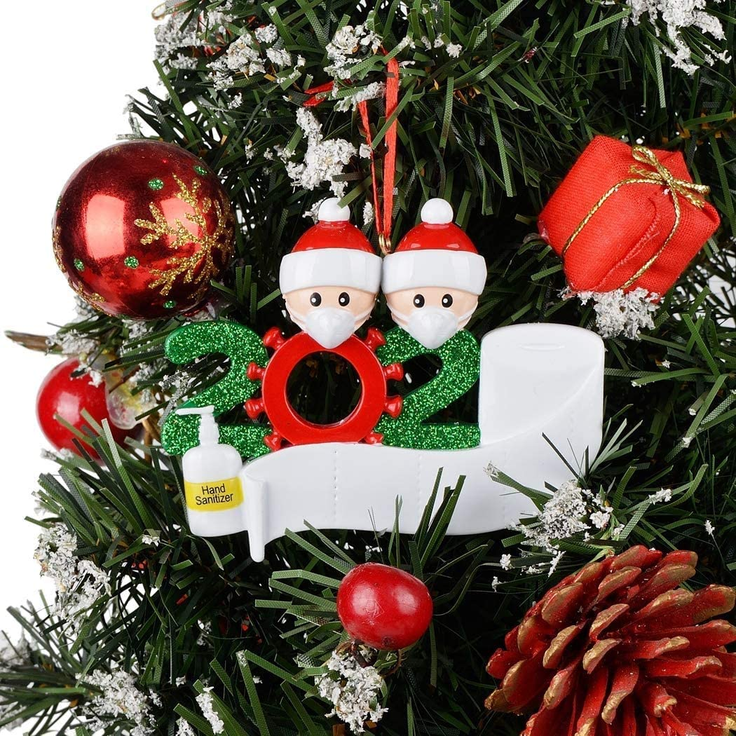 Customize IT Yourself, Family of 2 Jiewei Personalized Quarantine Family 2020 Christmas Ornament Family Members of 2 Gifts for Grandkids Co-Workers Friends