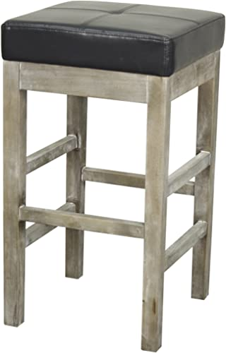 New Pacific Direct Valencia Backless Bonded Leather Counter Stool 27″,Distressed Gray Legs,Payne's Gray