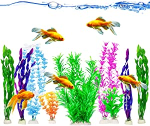 """JOR Plastic Plants, Artificial Ornaments for Fish Tank, Multi-Colored Lifelike Aquarium Decors with Weighted Ceramic Base, Low-Maintenance, 9 Plants (7 Large-12.5"""" ; 2 Small- 5"""") per Pack"""
