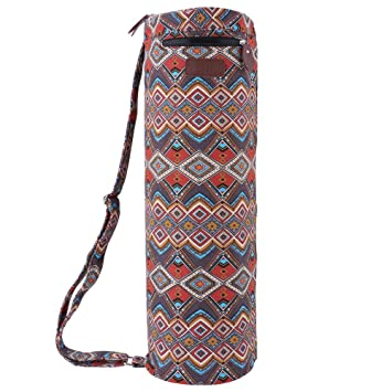 REEHUT Yoga Mat Bag, Full-Zip Exercise Mat Carrying Bag, Shrink Proof Canvas Mat Bag with Double Multi-Functional Storage Pockets, Adjustable Shoulder ...