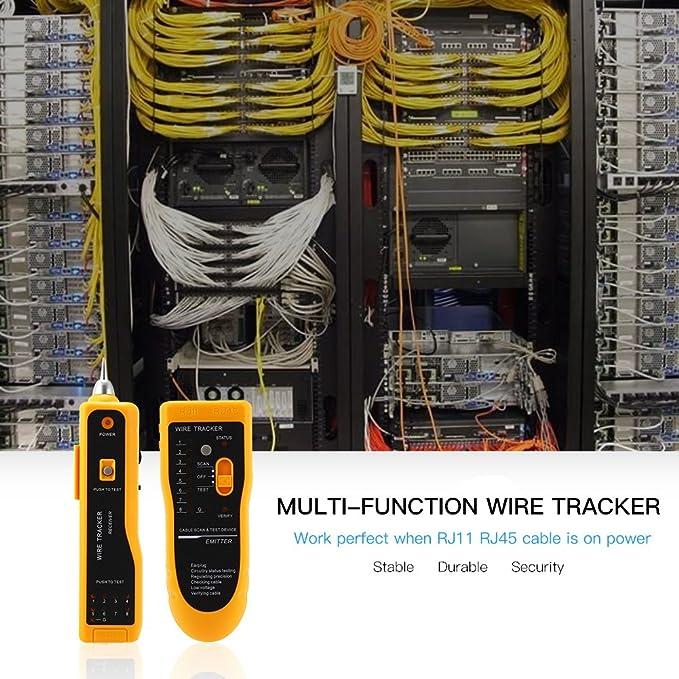 Wire Tracker, RJ11 RJ45 Línea Buscador probador de cable de red LAN Ethernet Cable Collation, teléfono línea telefónica prueba alambre Cable Tracer Tracker: ...