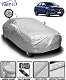 Fabtec Heat & Water Resistant Metallic Silver Mirror and Antenna Pocket Car Body Cover for Maruti Swift Dzire (2018-2019) with Soft Cotton Lining (Full Bottom Elastic, Full Sized, Triple Stitched)