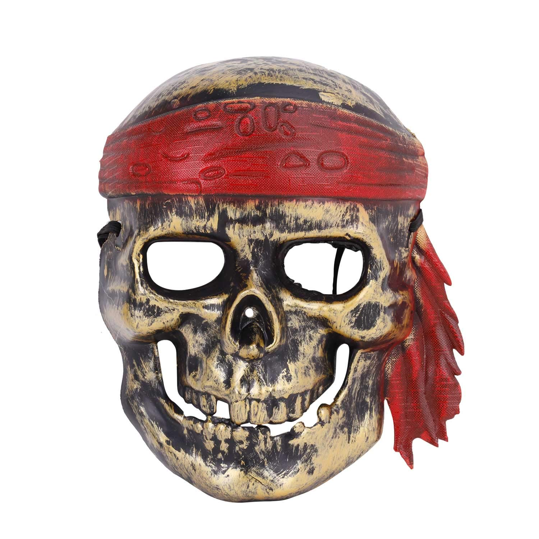 BXT Pirate Skull Skeleton Full Face Make Halloween Horror Night Party Cosplay Porps