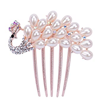03dead32efde Amazon.com   Penin Elegant Peacock Rose Gold Pearls Hair Combs Rhinestones  Flower Wedding Crystal Hair Clips Bridal Hair Accessories As Show   Beauty