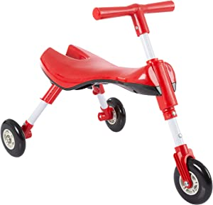 Lil' Rider Glide Tricycle- Trike Ride On Toy with No Assembly, Foldable Design, Indoor Outdoor Wheels for Toddlers Learning to Walk, Balance, Red (80-YC-2008)