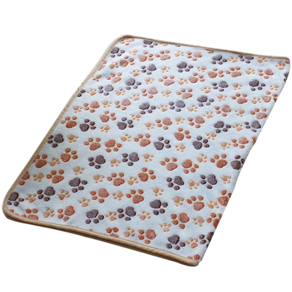 Cute Pet Dog Blanket Warm Paw Print Dog Puppy Fleece Soft Bed Mat Cover Throws Cushion Mat Sleep Pad size M (White)