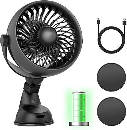 Battery Operated Powered USB Car Fan with Aroma Function Work Quiet 4 Speed Car Fan 360 Degree Rotatable Backseat Car Fan,5V Cooling Air Small Personal Fan for Car,Rear Seat Passenger Dog Kids etc