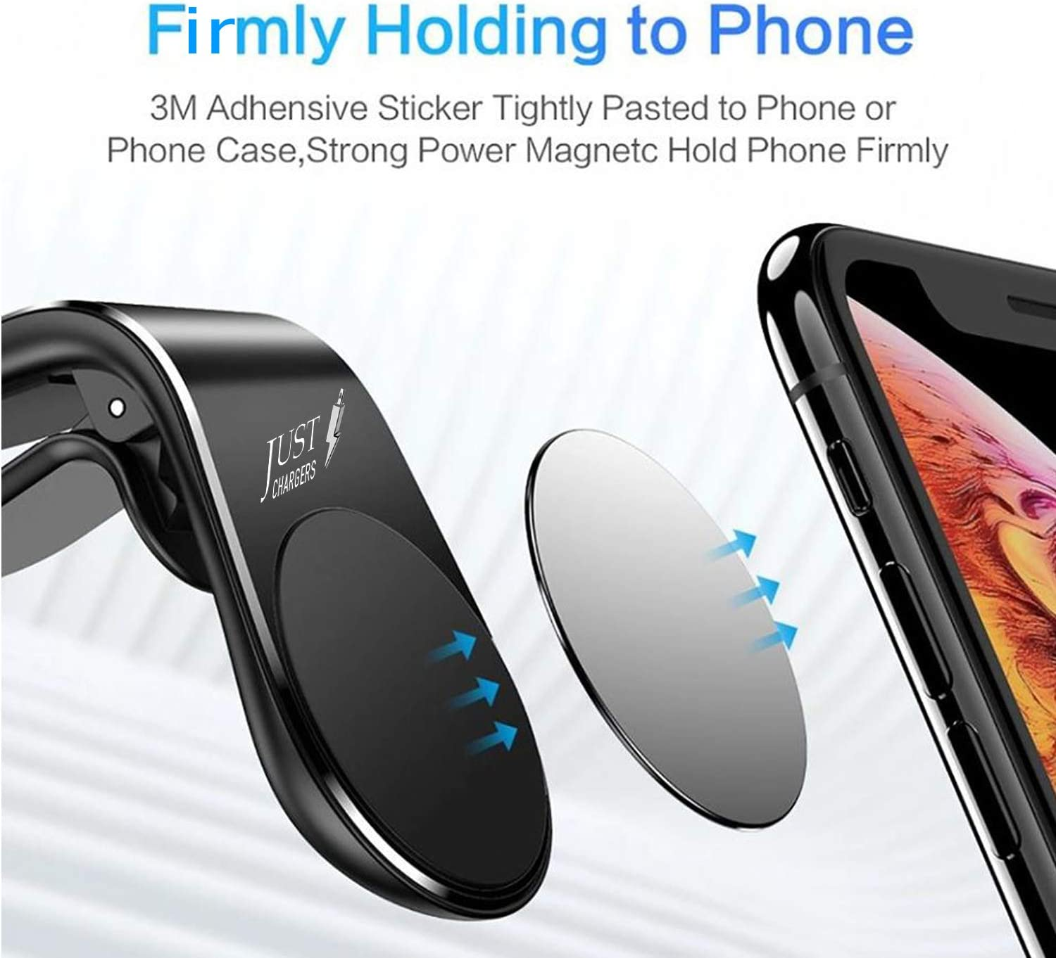 Magnetic Car Mount for Cell Phones with Universal Cell Phone Compatibility iPhone Vent Mount Compatible with All Smartphone and Tablets 5 Strong Magnets and Connects to Air Vent by Justcharger
