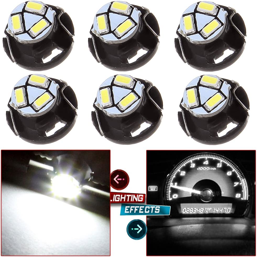 cciyu 6 Pack White T5//T4.7 Neo Wedge 3LED Bulb A//C Climate Control Light Replacement fit for 1999-2001 Saab 9-3