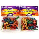 BAZIC Mini Colored Clothespin, 50 Per Pack, total 100