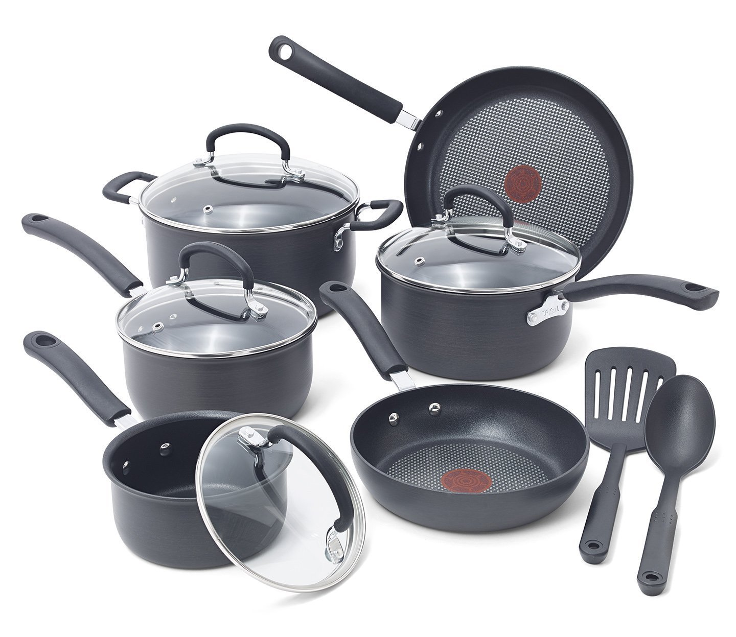 T-fal E765SC Hard Anodized Cookware Set, Nonstick Pots and Pans Set, Thermo-Spot Heat Indicator, 12 Piece, Gray