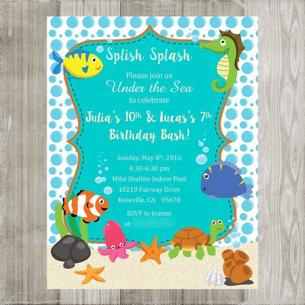 Amazon.com: Under the Sea Invitations - Sea Beach Birthday Printed ...