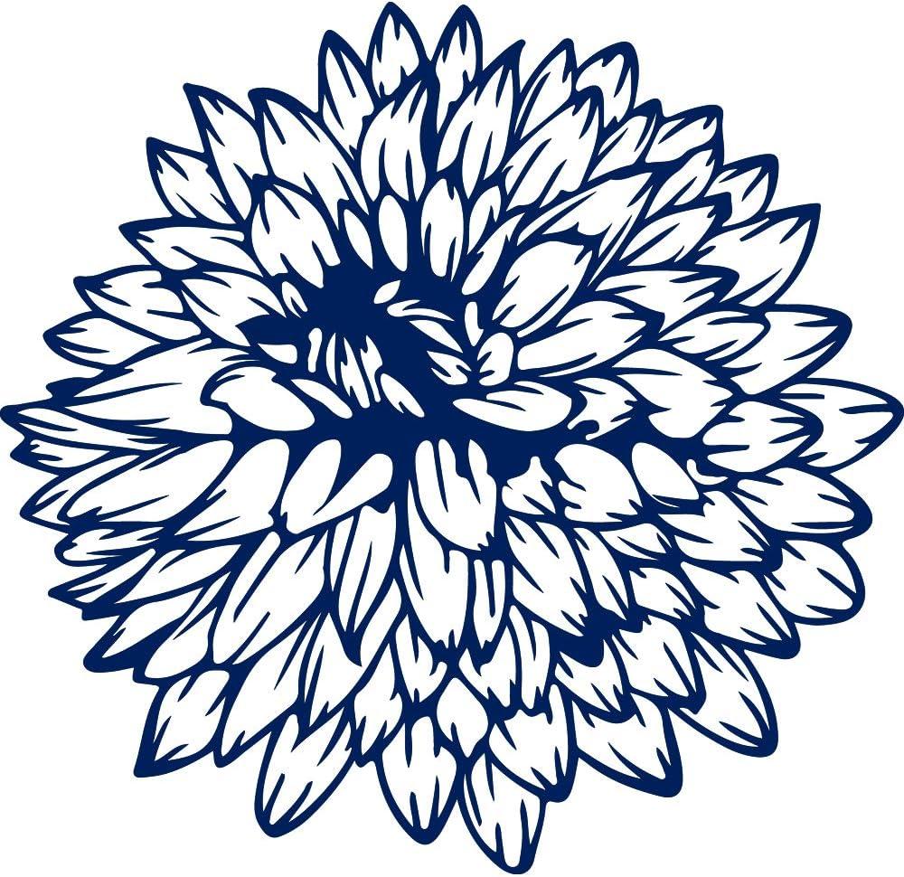 USC DECALS Dahlia Set Flowers (Navy Blue) (Set of 2) Premium Waterproof Vinyl Decal Stickers for Laptop Phone Accessory Helmet Car Window Bumper Mug Tuber Cup Door Wall Decoration