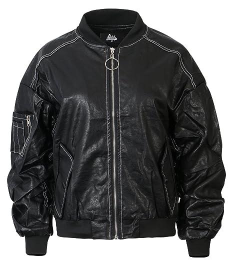 d8928f8aa ililily Women Black Varsity Aviator Bomber Jacket Faux Leather Rider ...