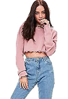 Womens Ladies Cropped Knitted Round Polo Roll Neck Ruffle Frill Hem Jumper Top