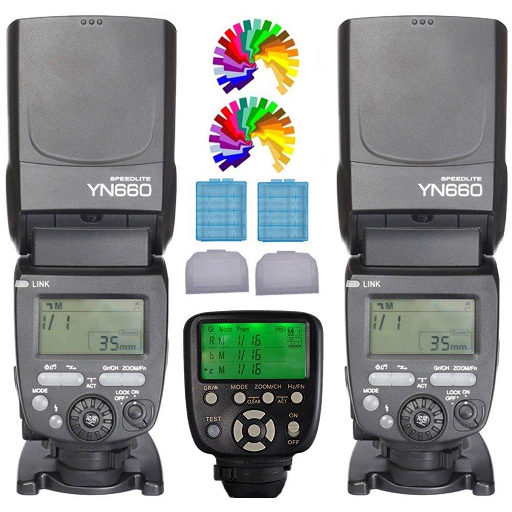 YONGNUO YN660 Flash Speedlite 2PCS + YN560TXII N Wireless Flash controlador y control dispositivo para Nikon Cámara D810 D800 D800E D700 D300 D750 D610 D600 D7200 D7100 D7000 D5500 D5300 D5200 D5100