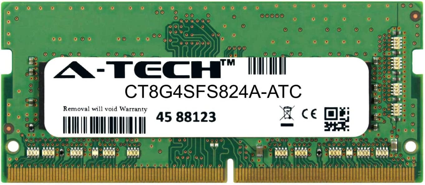 A-Tech 8GB Replacement for Crucial CT8G4SFS824A - DDR4 2400MHz PC4-19200 Non ECC SO-DIMM 1rx8 1.2v - Single Laptop & Notebook Memory Ram Stick (CT8G4SFS824A-ATC)