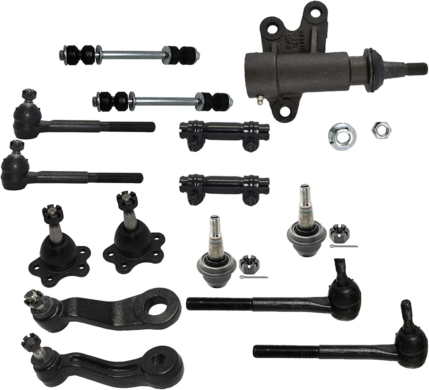 for 1992-2000 Chevy GMC 2WD Inner /& Outer Tie Rods Pitman Arm Sway Bars Idler Arm 13S1201420 13pc Set Tie Rod Sleeves Front Suspension Kit Lower Ball Joints Detroit Axle
