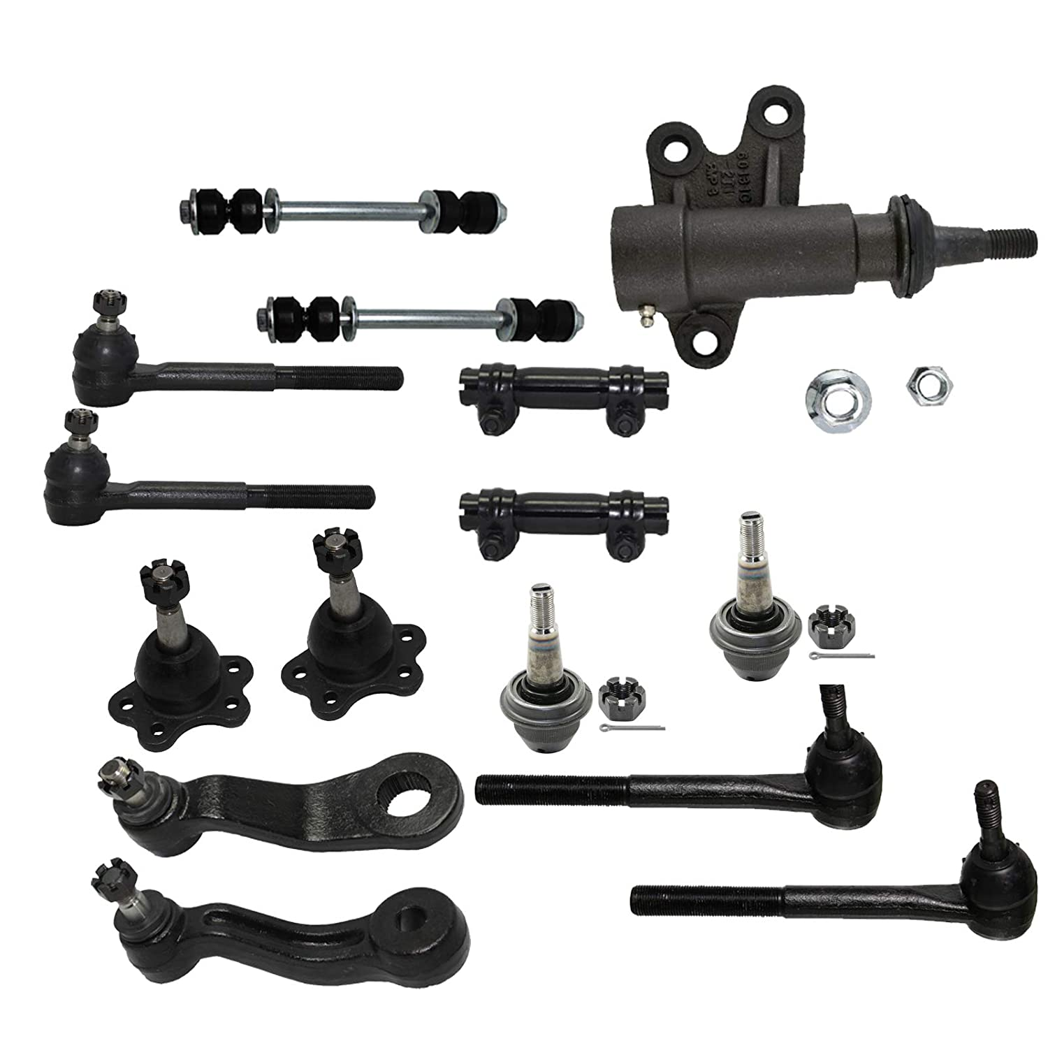 4WD Stamped Steel Lower Control Arms Models Detroit Axle 15PC Front Upper Lower Ball Joint Sway Bar and Inner Outer Tie Rod Kit for 1995-1999 Escalade K1500 K2500 K1500 Suburban Yukon Tahoe