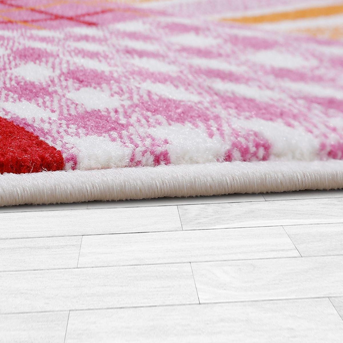 T&T Design Kinderzimmer Teppich Kariert Bunte Eulen Kurzflor Pink ...