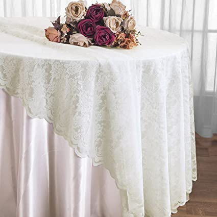 Wedding Linens Inc. 108 Inch Lace Table Overlays, Lace Tablecloths Round,  Lace Table