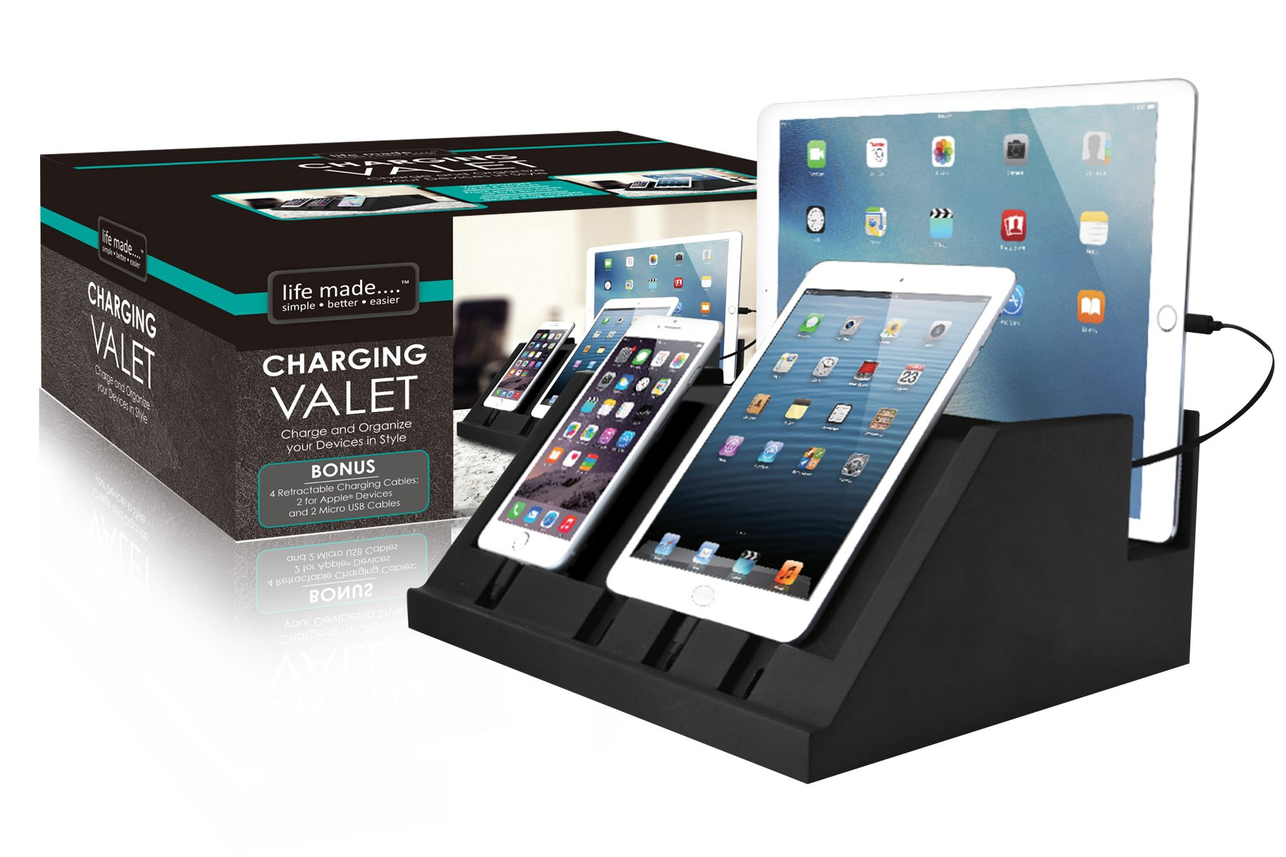 Life Made LLC 4-Port Charging Valet with Retractable Cords