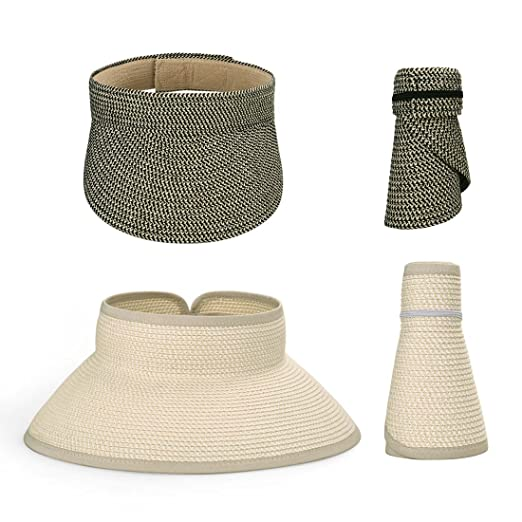 BMC 2pc Roll Up Collapsible Wide Brim and Visor Style Straw Hats  Black +  Beige 19be4317391