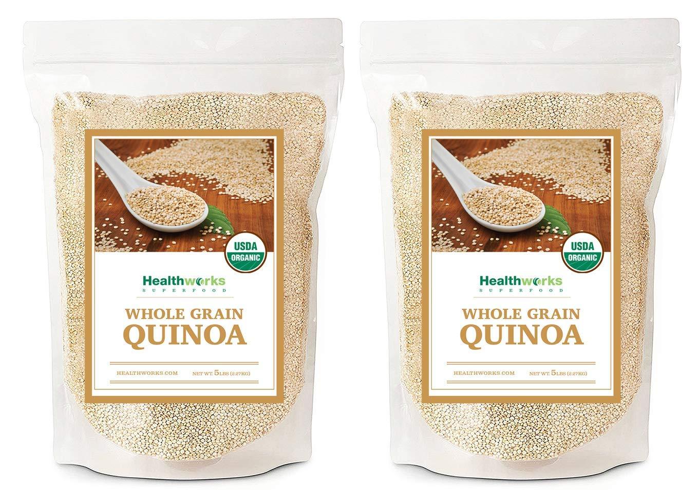 Healthworks Quinoa, Peruvian White Whole Grain Raw Organic, 10lb - packaging may vary