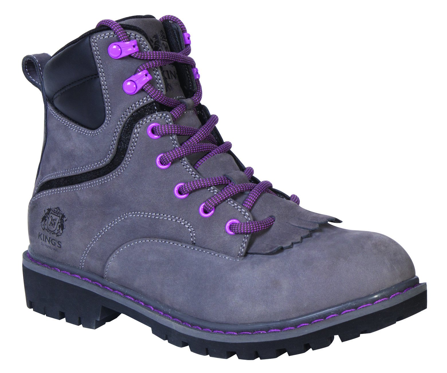 King's by Honeywell KWLK02 6'' WOMEN'S Steel Toe Welted Leather Work Boot, Gray, Size 6