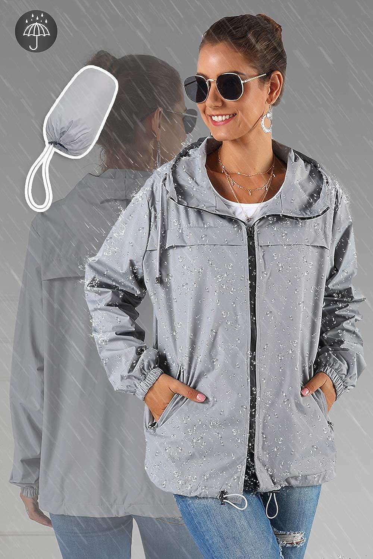 Hocaies Veste imperm/éable Femme L/éger Pliable Longues Coup Vent Raincoat Vent Ext/érieure Manteaux /à Capuche