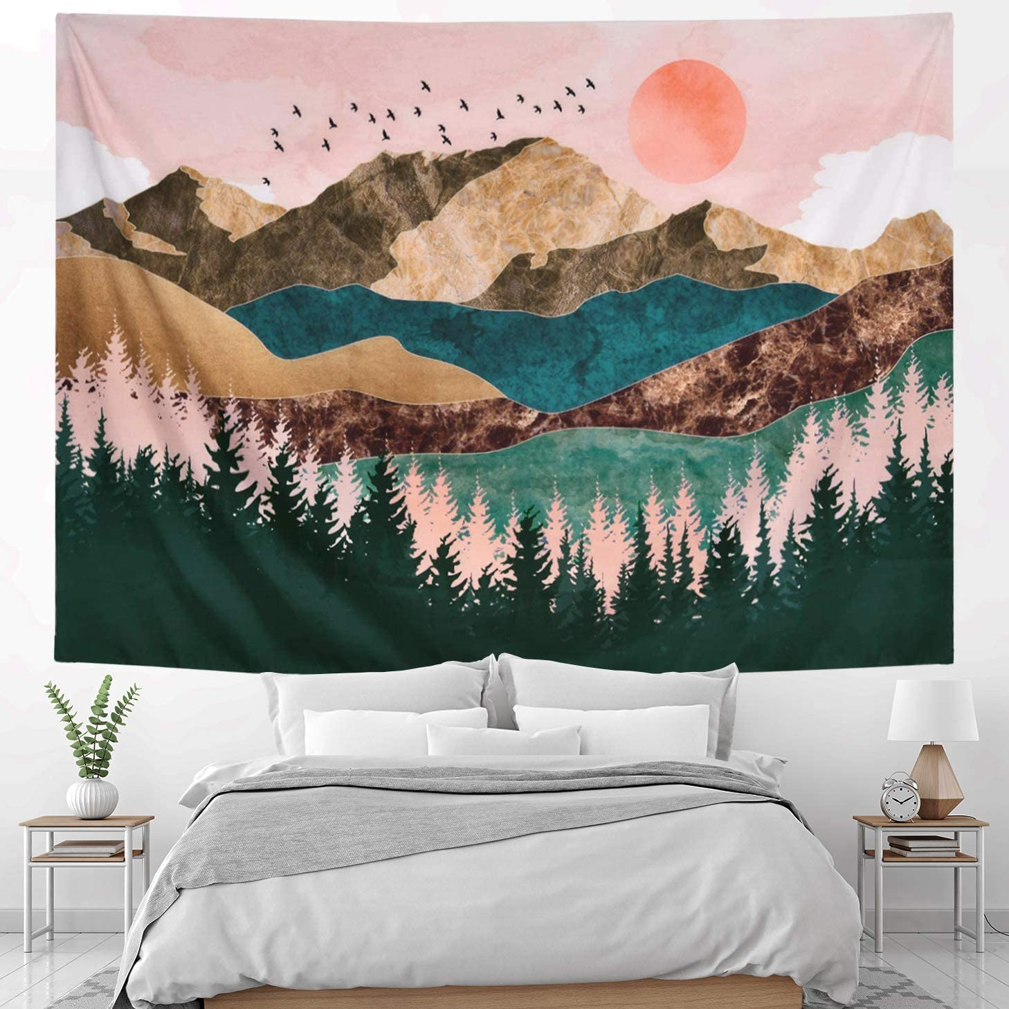 HOMKUMY Mountain Wall Tapestry, Sunset Forest Trees Nature Landscape Art Wall Hanging for Home Decor Bedroom Living Room Hippie Tapestry Psychedelic Indian Nature Tapestry, Medium 59x51 Inches