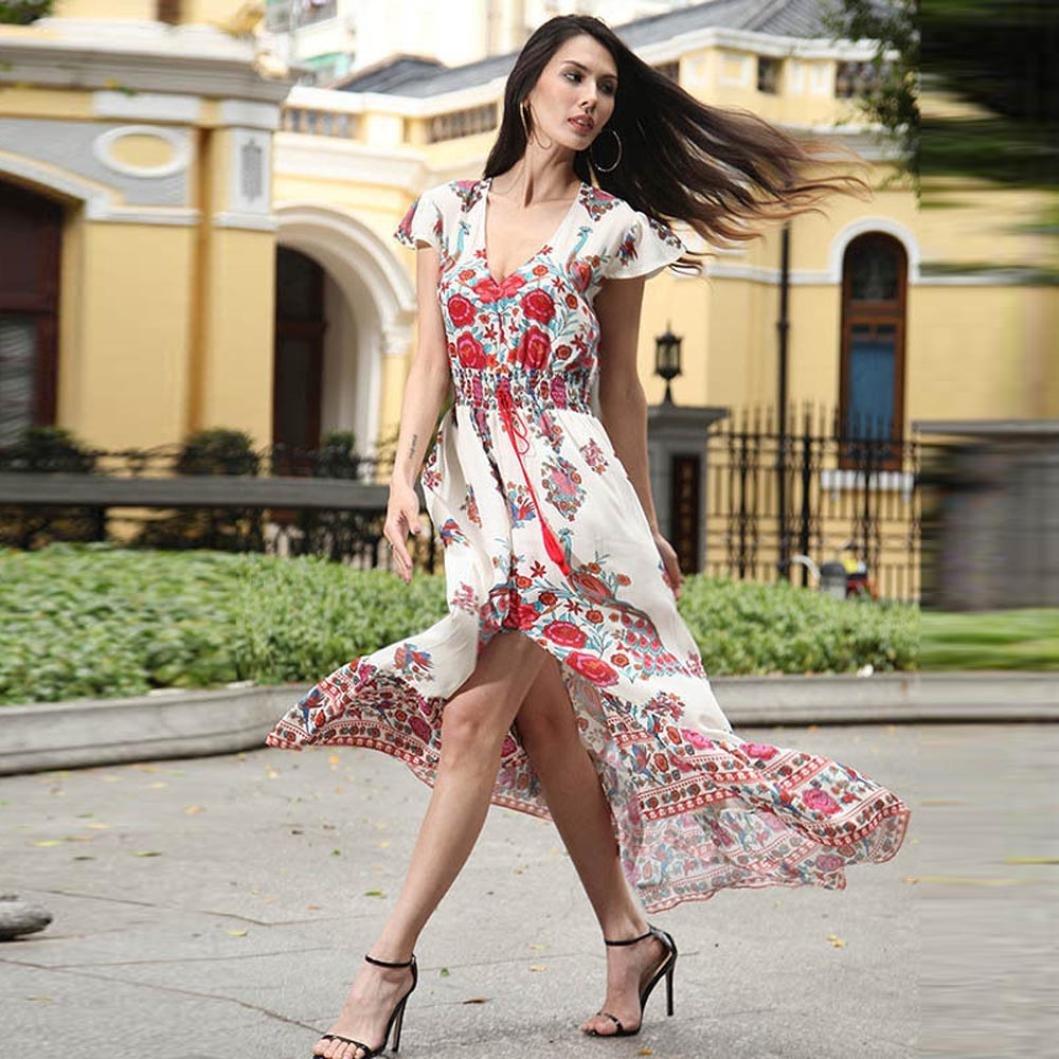 b2cebfc9aa Amazon.com: Ruhiku GW Women's Deep V Neck Split Floral Print Flowy Short  Sleeve Party Maxi Dress: Clothing