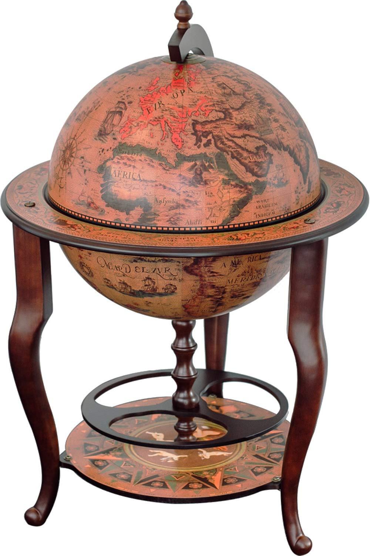Stilemo Mueble Bar con Globo del Mundo Antiguo Replica de Siglo XVI de Italia – Barra Bar y botellero para Vino – Gabinete de decoración Sofisticado Idea de Regalo (115 x 61 cm)