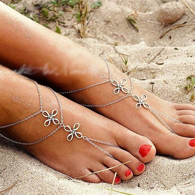 Lumanuby Anklets Chain For Women Girls Charm Elegant Lucky Bowkno Design Bracelet Barefoot Sandal Girl Foot Jewelry Accessories Love Gift 1Pcs