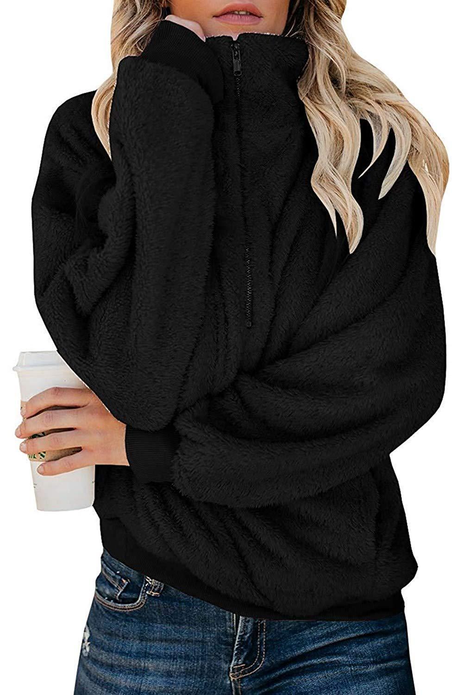 Yanekop Womens Fuzzy Fleece Sweatshirt Sherpa Quarter Zip Pullover Oversized Hoodie with Pockets