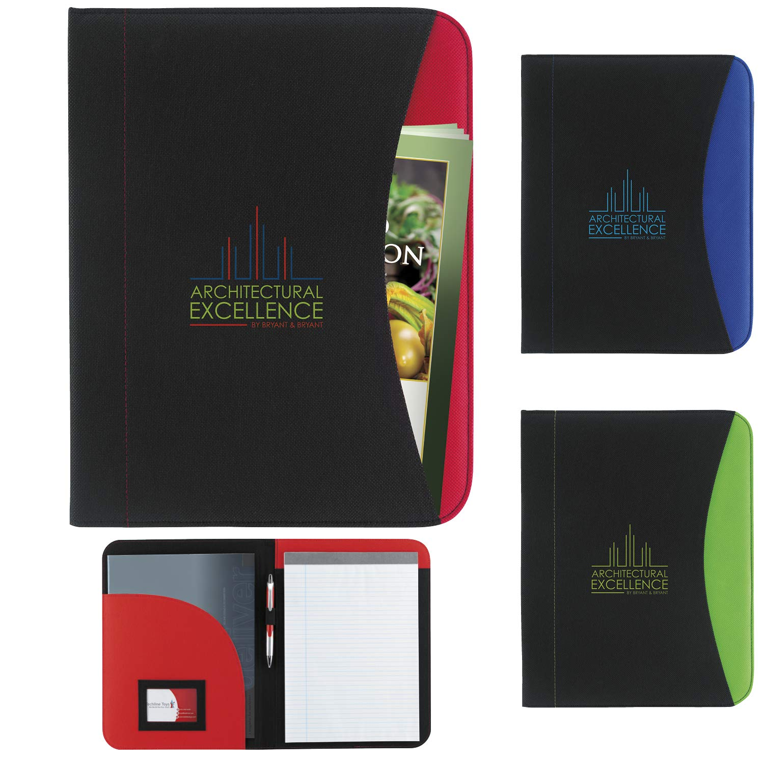 Good Value Non-Woven Curve Padfolio Black/Red 250 Pack