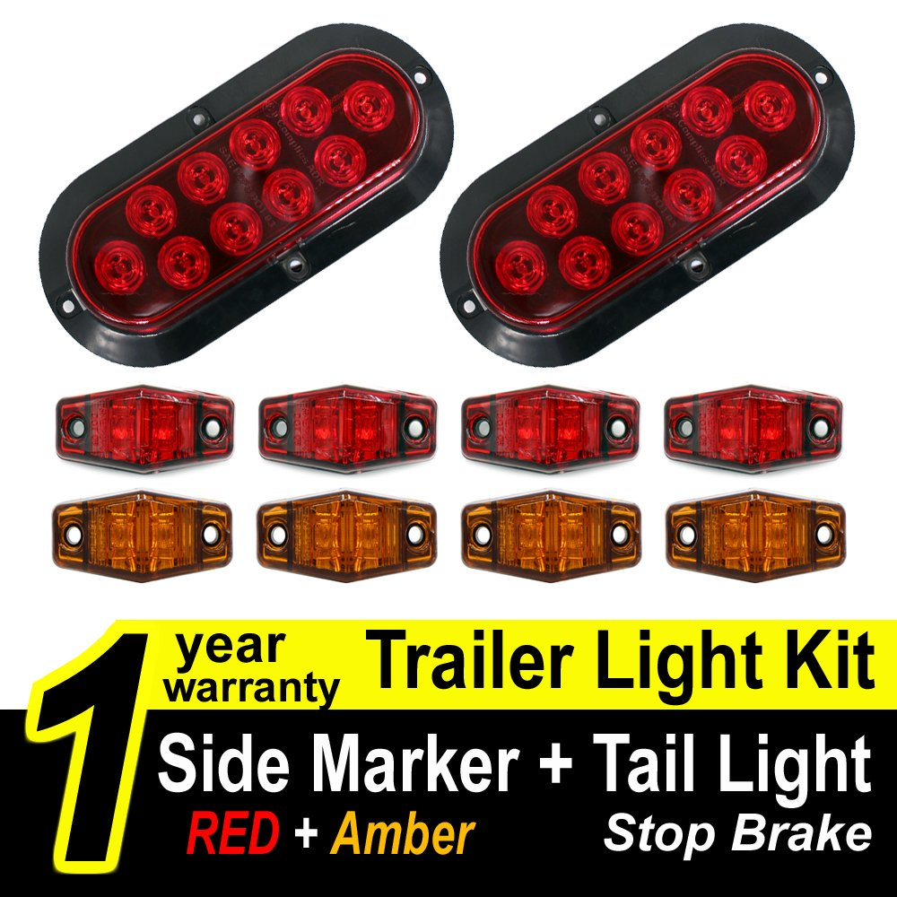"Amazon.com: TMH Trailer Light KIT ( Pack of 2 ) 6"" Oval Stop Turn Brake Red Tail  Light Lamp + ( Pack of 8 ) Side Led Marker Light ( Red ..."