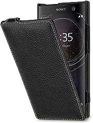 StilGut Housse pour Sony Xperia XA2 en Cuir véritable à Ouverture Verticale, Noir