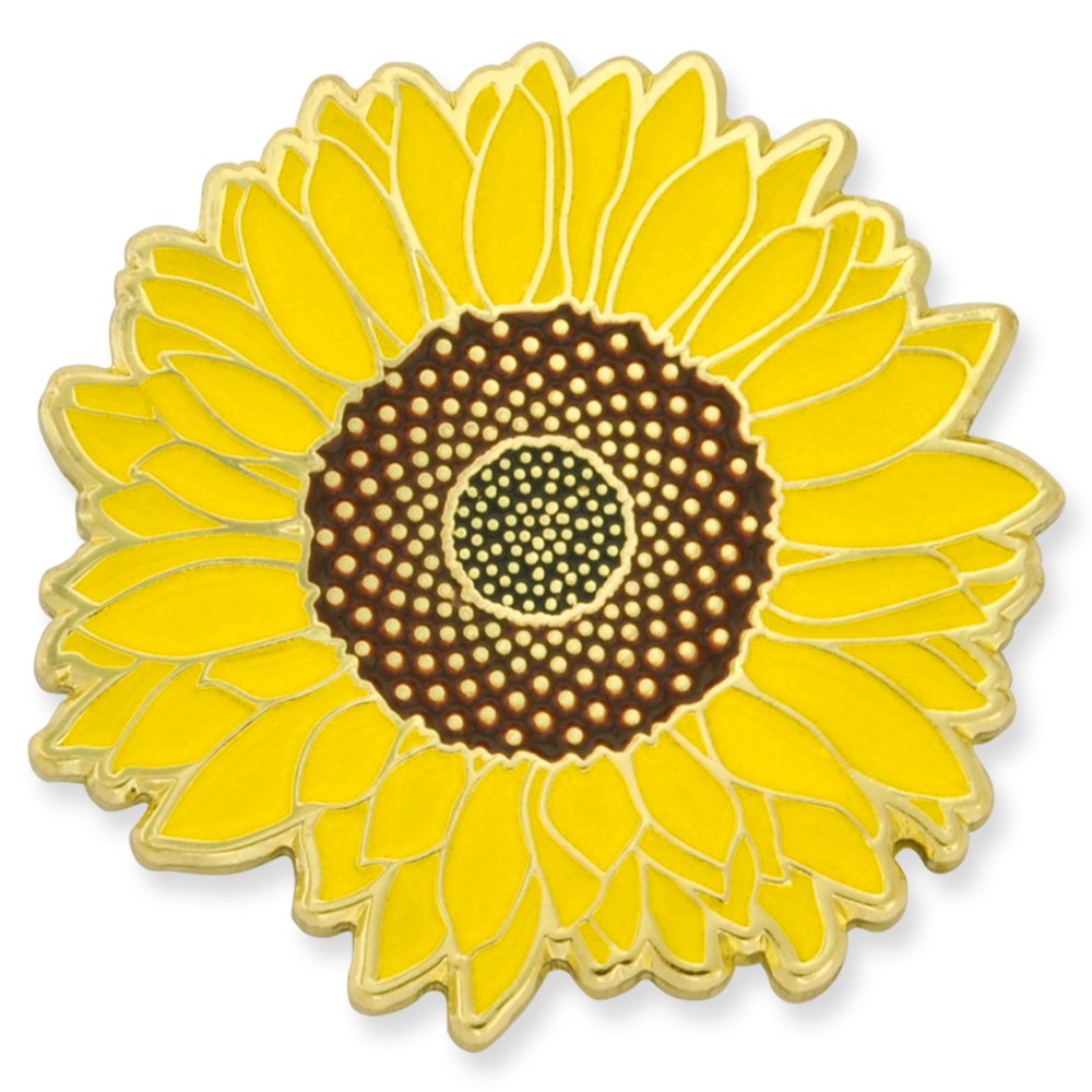 PinMart's Bright Yellow Sunflower Summer Enamel Lapel Pin