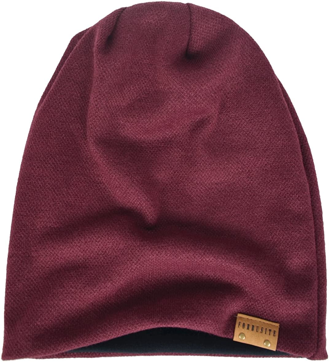 HISSHE Oversized Men Knit Beanie Hat Baggy Slouchy Double-Layer Skull Cap B011s