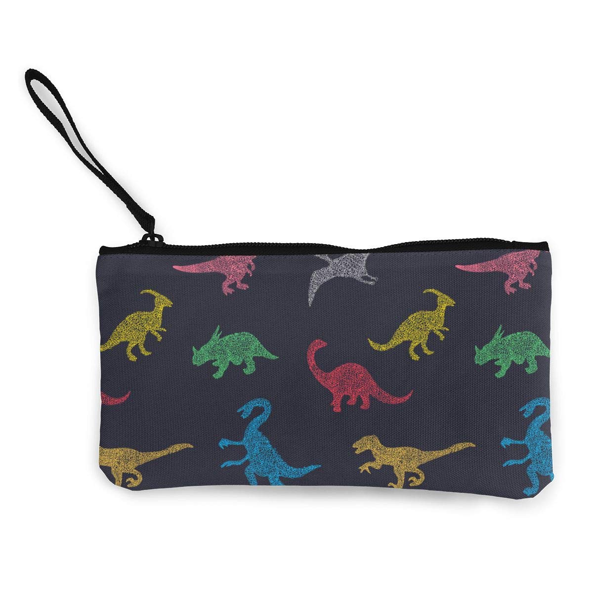 Bk55Oi/&/& Womens Retro Coin Purse Colorful Different Dinosaur Pattern Canvas Card Wallet with Zipper for Women