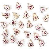 Lot de 24Rouge Blanc Nature Arbre de Noël Pinces en Bois (4cm) Calendrier de l'Avent chiffres de 1à 24pour calendrier de l'avent bricolage PINCES à linge pinces décoratives de Noël décoration de Noël chiffres Pinces